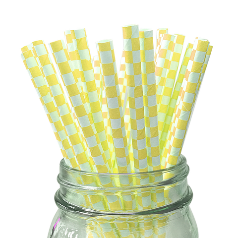Yellow Checkered 25pc Paper Straws