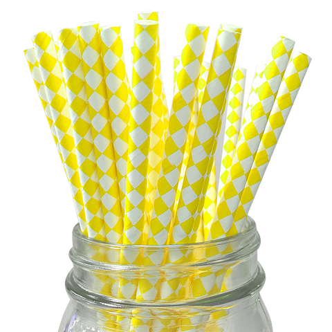 Yellow Harlequin Diamond 25pc Paper Straws