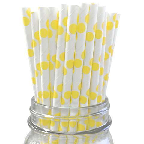 Yellow Polka Dot 25pc Paper Straws