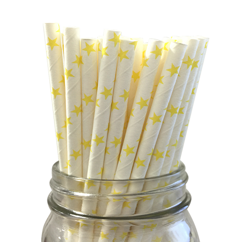 Yellow Stars 25pc Paper Straws