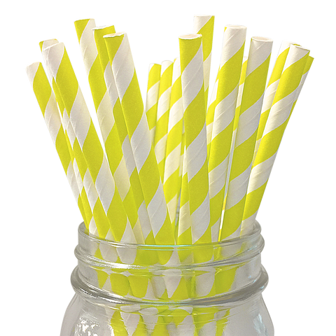 Yellow Striped 25pc Paper Straws