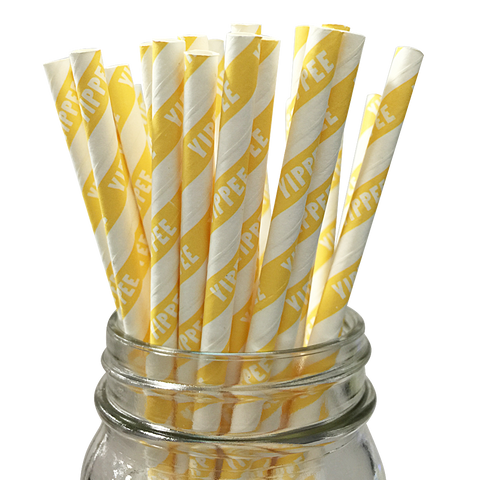 Yellow Yippee 25pc Paper Straws.