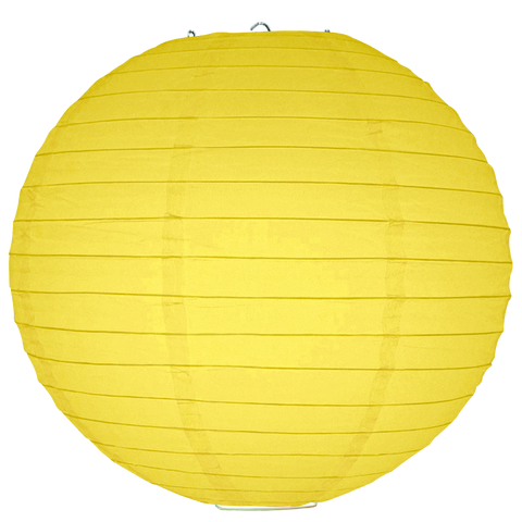 Yellow Ribbed Paper Lanterns
