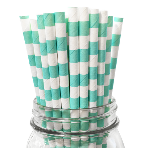Aqua Rugby Striped 25pc Paper Straws.
