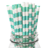 Aqua Rugby Striped 25pc Paper Straws