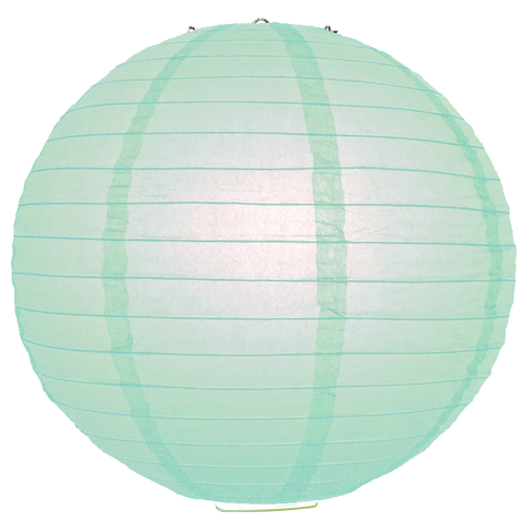 Aqua Ribbed Paper Lanterns