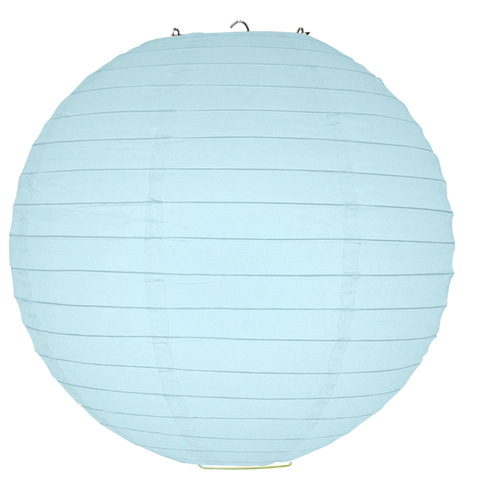 Baby Blue Ribbed Paper Lanterns