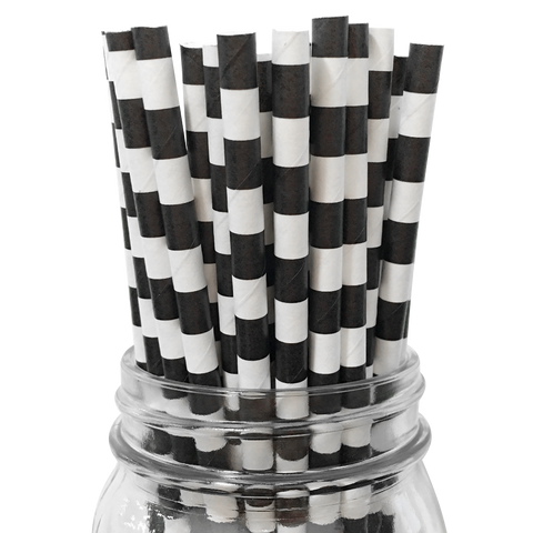 Black Rugby Striped 25pc Paper Straws.