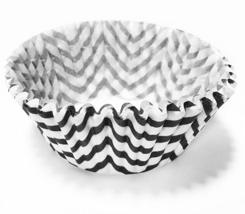 Black Chevron 25pc Cupcake Liners.