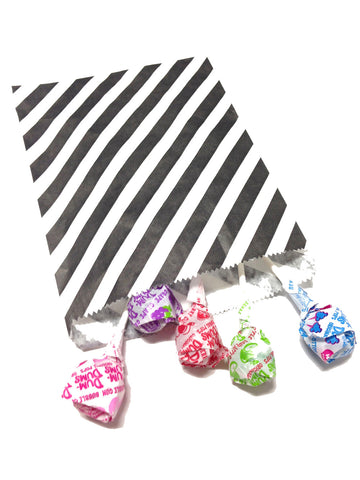 Black Striped 20pc Paper Favor Bags
