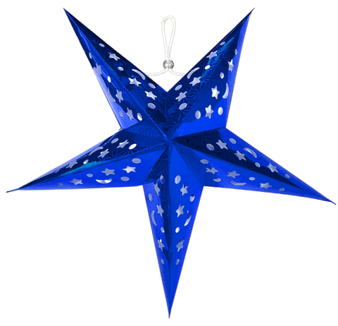 "24"" Blue Star Paper Lanterns."