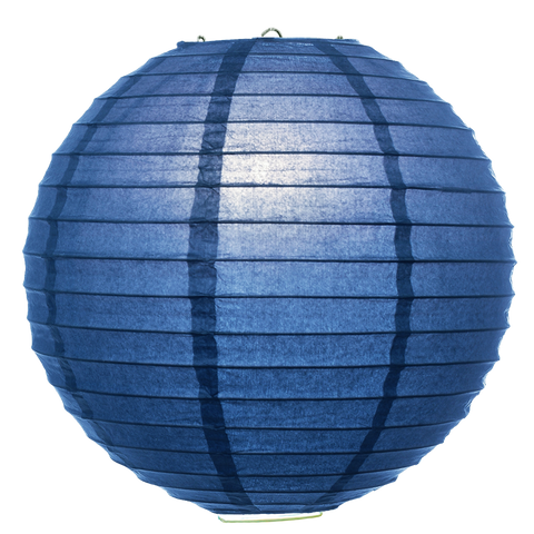 Blue Ribbed Paper Lanterns