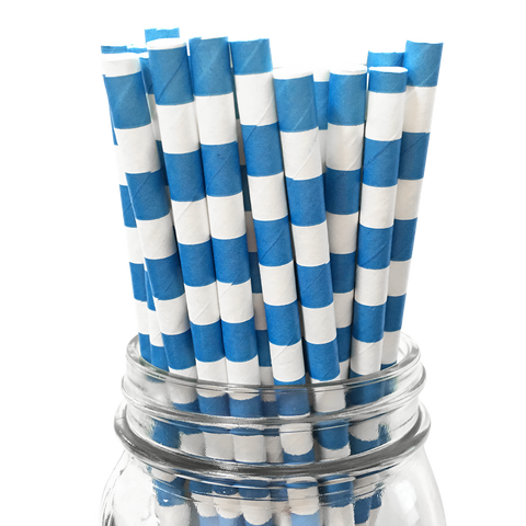 Blue Rugby Striped 25pc Paper Straws.
