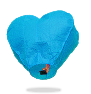 ECO Blue Heart Sky Lanterns (Wire-Free).