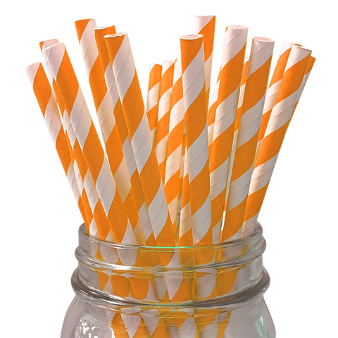 Bright Orange Striped 25pc Paper Straws.
