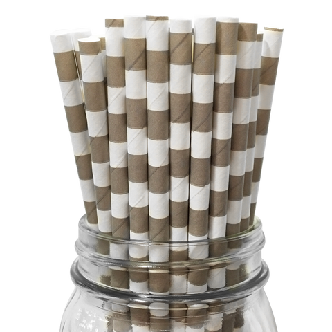Concrete Rugby Striped 25pc Paper Straws.
