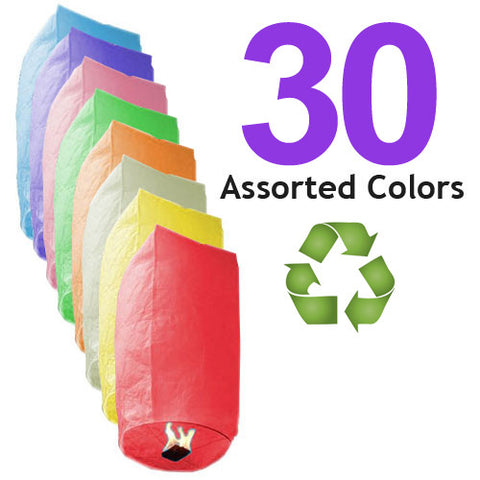 30 Assorted Color ECO Cylinder Sky Lanterns