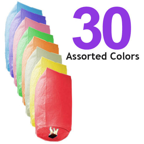 30 Assorted Color Cylinder Sky Lanterns