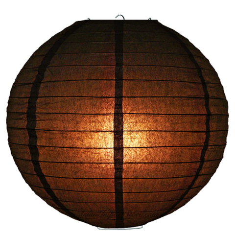 Dark Brown Ribbed Paper Lanterns