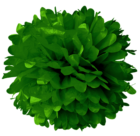 "10"" Dark Green Tissue Pom Poms."