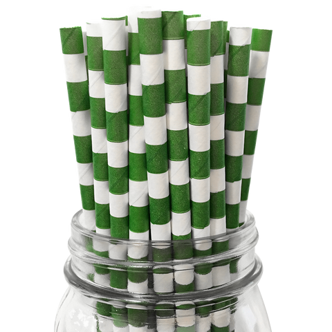 Dark Green Rugby Striped 25pc Paper Straws.