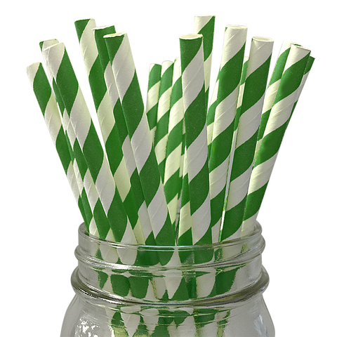 Dark Green Striped 25pc Paper Straws