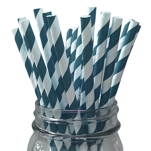 Dark Teal Striped 25pc Paper Straws