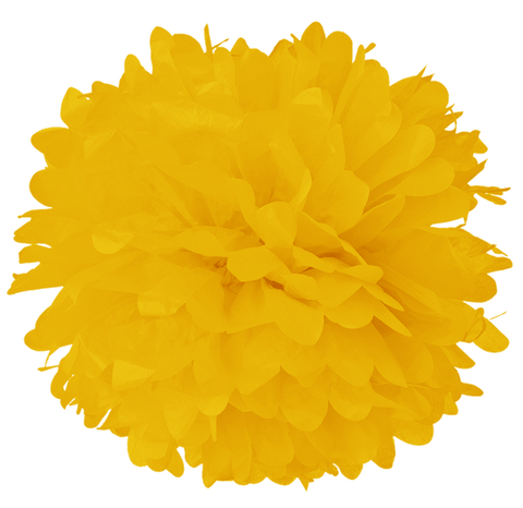 "10"" Dark Yellow Tissue Pom Poms."