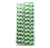 Dark Green Rugby Striped 25pc Paper Straws