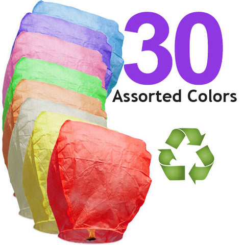 30 Assorted Color ECO Eclipse Sky Lanterns