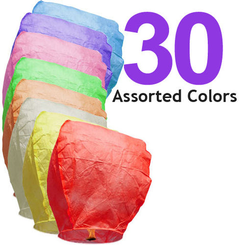 30 Assorted Color Eclipse Sky Lanterns