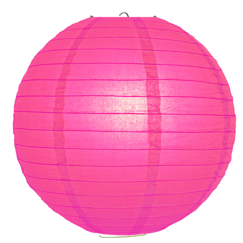 Fuchsia Ribbed Paper Lanterns