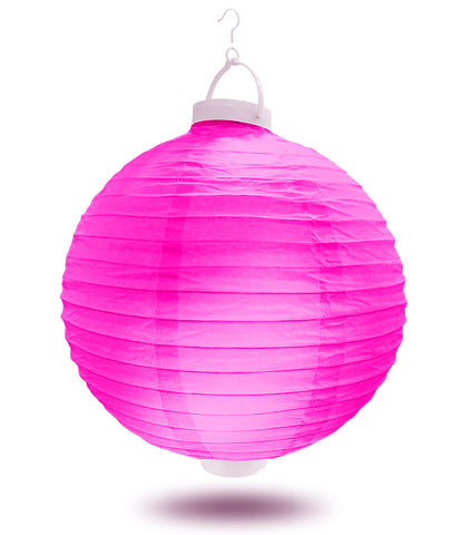 "12"" Fuchsia Battery Operated LED Paper Lanterns."