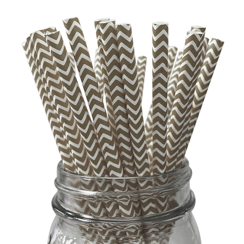 Gold Chevron Striped 25pc Paper Straws