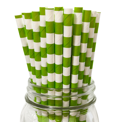 Green Apple Rugby Striped 25pc Paper Straws.