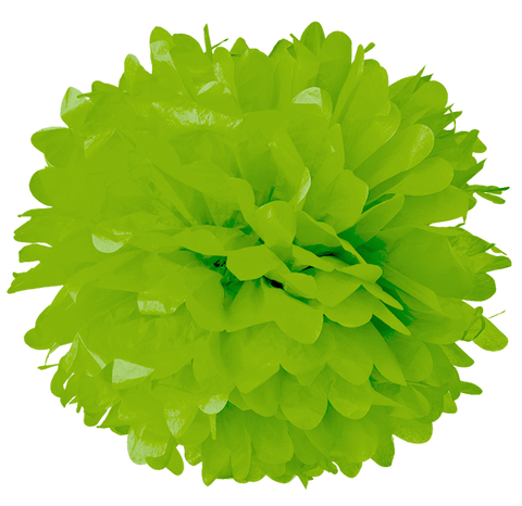 "6"" Green Apple Tissue Pom Poms."