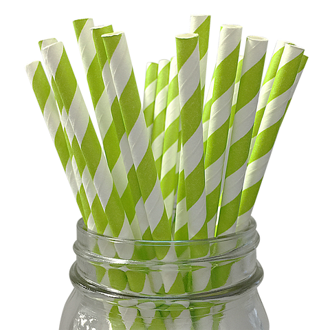 Green Striped 25pc Paper Straws