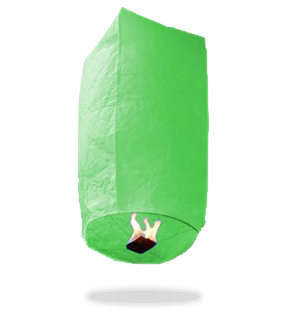 ECO Green Cylinder Sky Lanterns (Wire-Free).