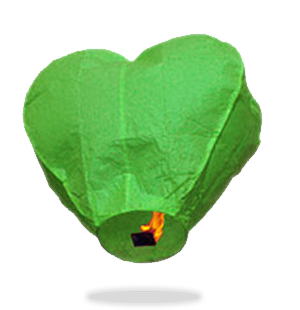 Green Heart Sky Lanterns