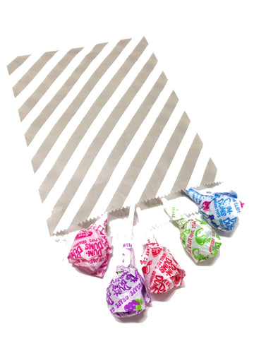 Grey Striped 20pc Paper Favor Bags