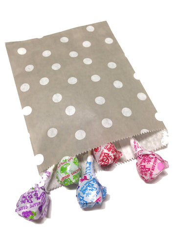 Grey Polka Dots 20pc Paper Favor Bags