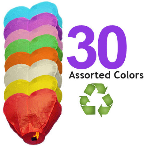 30 Assorted Color ECO Heart Sky Lanterns