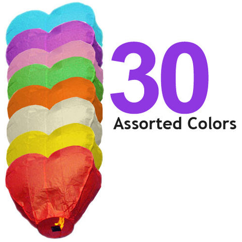 30 Assorted Color Heart Sky Lanterns