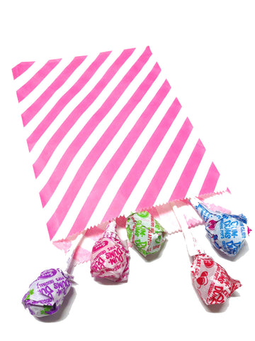 Hot Pink Striped 20pc Paper Favor Bags.