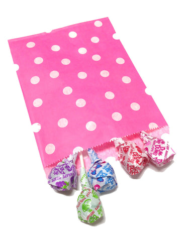 Hot Pink Polka Dots 20pc Paper Favor Bags.