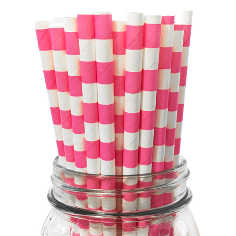 Hot Pink Rugby Striped 25pc Paper Straws.