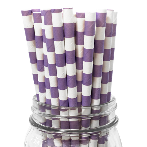 Lavender Rugby Striped 25pc Paper Straws