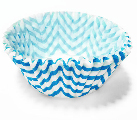 Light Blue Chevron 25pc Cupcake Liners