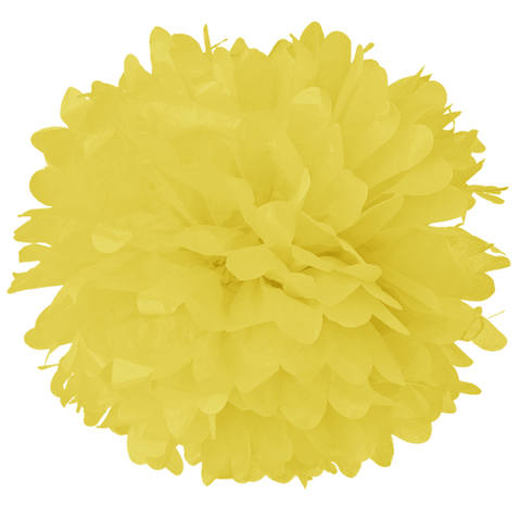 "14"" Light Yellow Tissue Pom Poms."