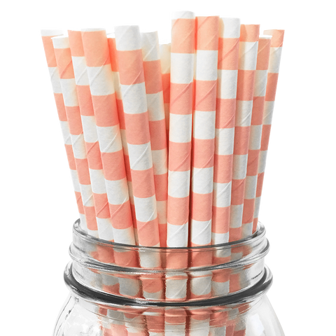 Light Pink Rugby Striped 25pc Paper Straws.